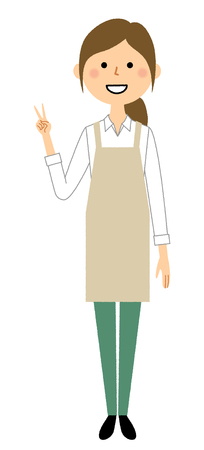 Woman wearing apron V sign, Peace sign  イラスト・ベクター素材