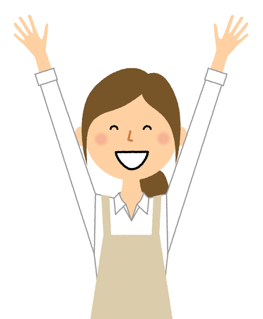 Woman wearing apron, Give both hands up, Cheers