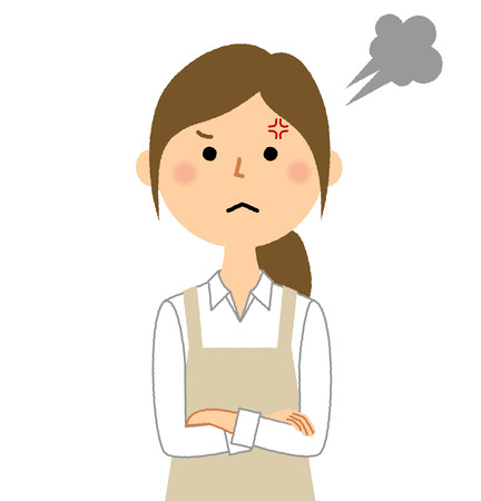 Mujer, llevando, delantal, ira Ilustración de vector