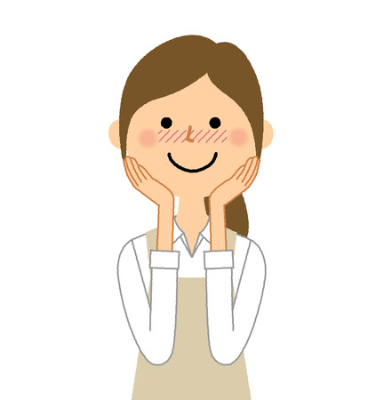 Woman wearing apron, Be shy