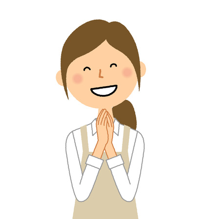 Woman wearing apron, Be pleased  イラスト・ベクター素材