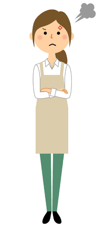 Woman wearing apron, Anger Illustration