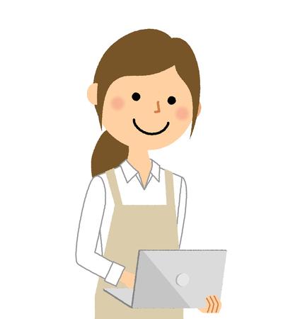 Woman wearing apron, Laptop computer