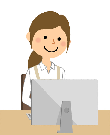 Woman wearing apron, PC Illustration