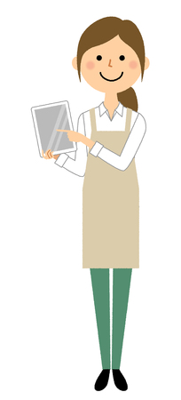 Woman wearing apron, Tablet