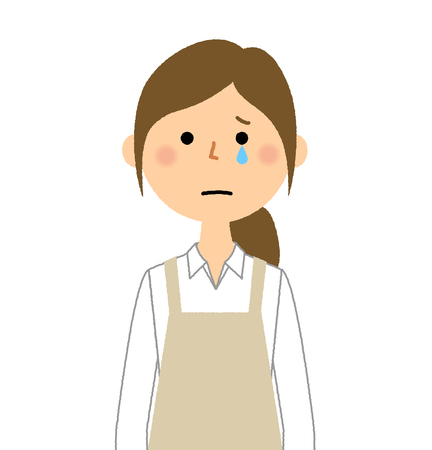 Woman wearing apron, Cry