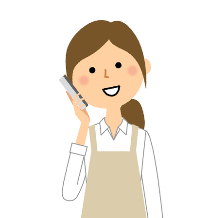 Woman wearing apron, Smart phone