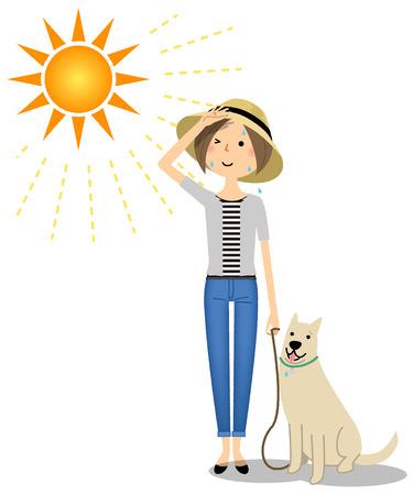 Jeune femme portant un chapeau promener un chien Vecteurs