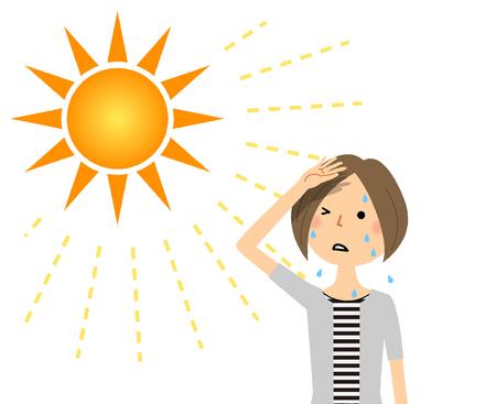 Eine junge Frau, die wahrscheinlich einen Hitzschlag bekommen wird
