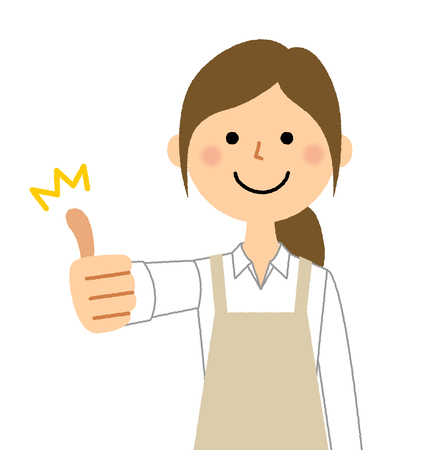 Woman wearing apron, Thumbs up
