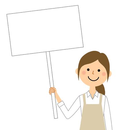 Woman wearing apron, White board Ilustração