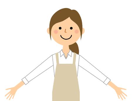 Donna che indossa il grembiule, allarga entrambe le mani