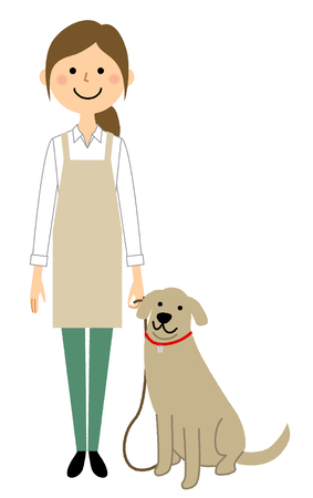 Woman wearing apron, Walk with a dog