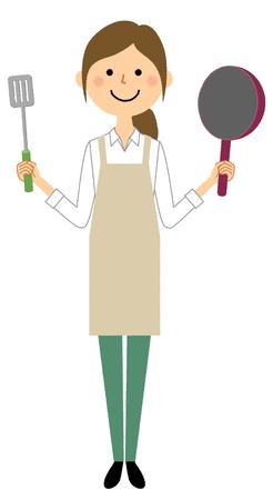 Woman wearing apron, Cooking