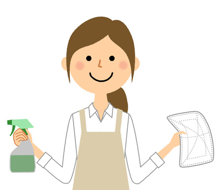 Woman wearing apron, Wiping clean  イラスト・ベクター素材