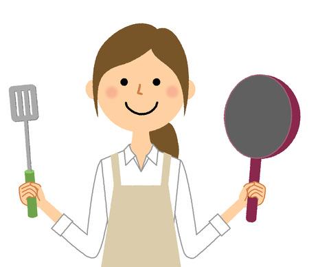 femme, porter, tablier, cuisine