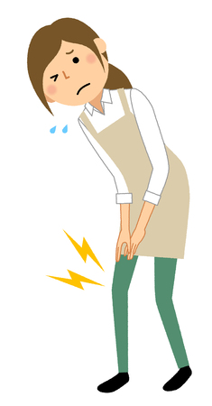 Woman wearing apron, Knee pain Vector Illustration