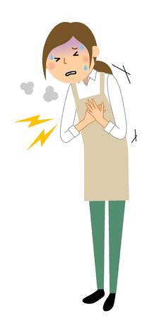 Woman wearing apron, Chest pain