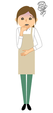 Woman wearing apron, Nausea