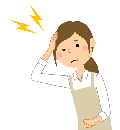Woman wearing apron, Headache