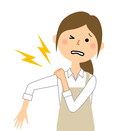 Woman wearing apron, Shoulder pain