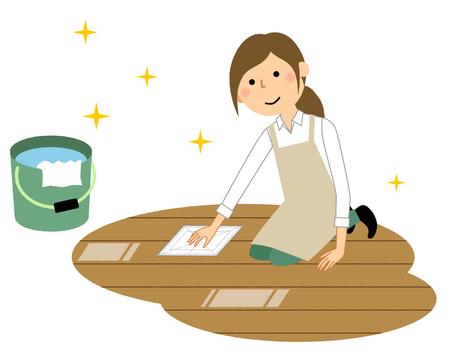 Mujer, llevando, delantal, barrido, limpieza Ilustración de vector