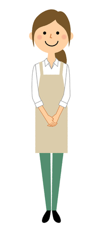 Woman wearing apron, Greeting Illustration