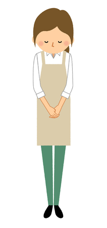 Woman wearing apron and Bow