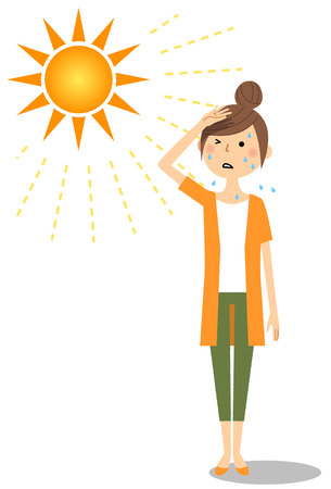 An young woman who is likely to become a heat stroke
