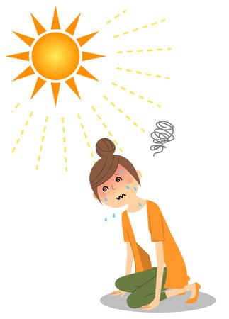 Junge Frau, die einen Hitzschlag bekam
