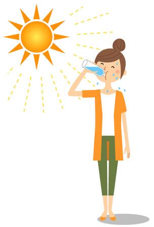 Young woman feeding hydration