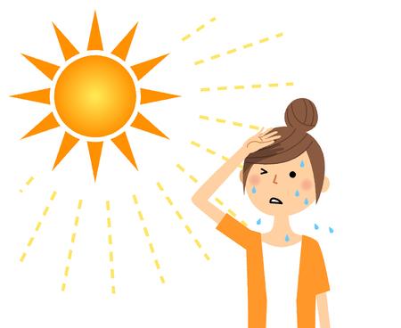 Une jeune femme susceptible de devenir un coup de chaleur Vecteurs