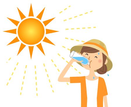 Mujer joven, alimentación, hidratación Ilustración de vector