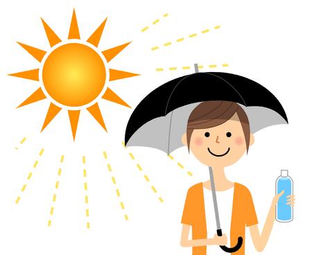 Junge Frau, die Maßnahmen gegen Hitzschlag ergreift