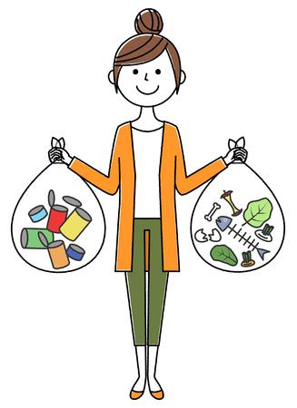 Young woman, mama, Garbage disposal