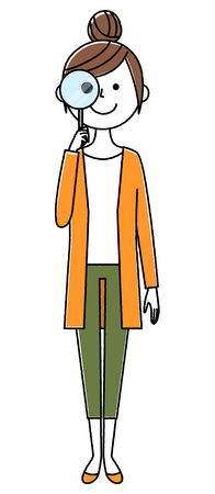 Young woman, mama, Magnifying glass  イラスト・ベクター素材