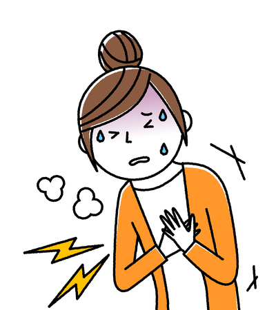 Young woman, mama, Chest pain Illustration