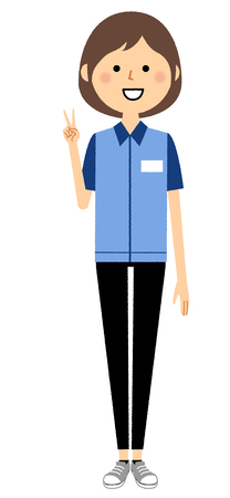 Female clerk, V sign, Peace sign Illustration