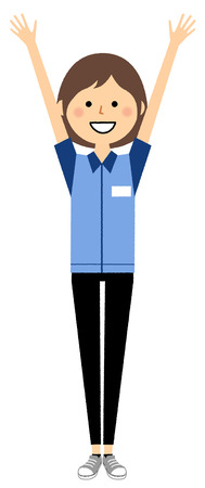 Female clerk, Give both hands up, Cheers  イラスト・ベクター素材