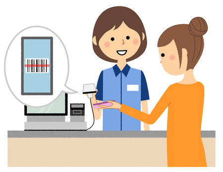 Female clerk, Electronic money Stock Illustratie