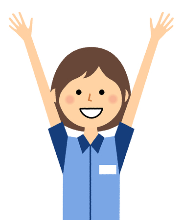 Female clerk, Give both hands up, Cheers Ilustração