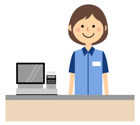 Impiegata, registratore di cassa Vettoriali