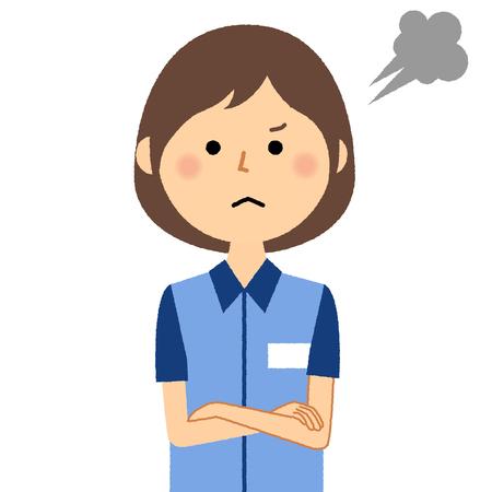 Female clerk, Anger