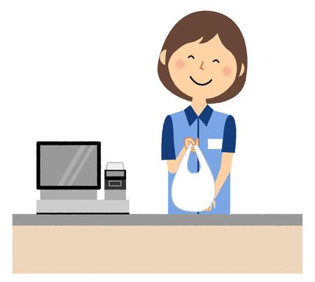 Female clerk, Cash register