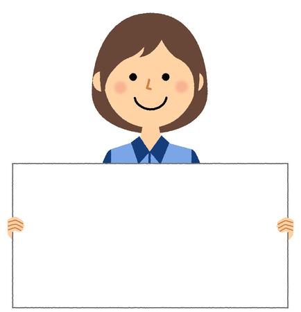 Female clerk, White board