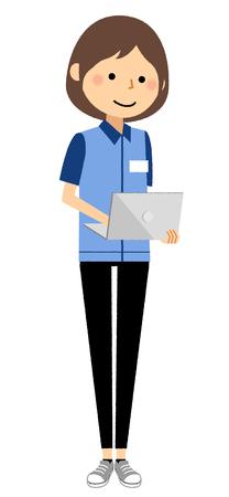 Female clerk, Laptop computer