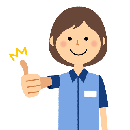 Female clerk, Thumbs up Illustration