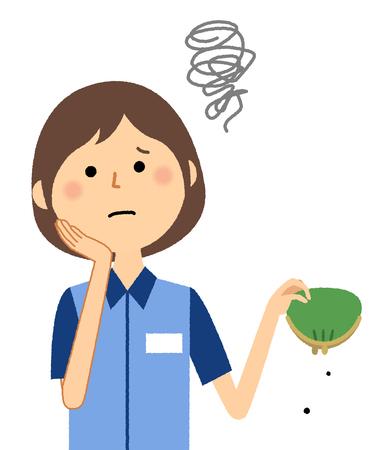 Female clerk, Im broke Illustration