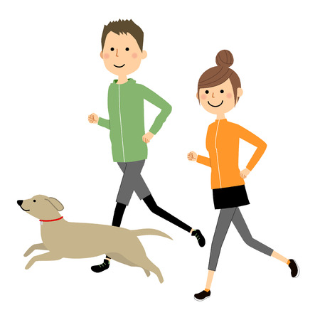 Young couple, Jogging Stock Illustratie