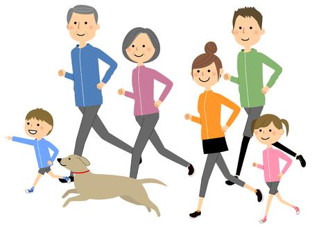 Courir en famille Vecteurs